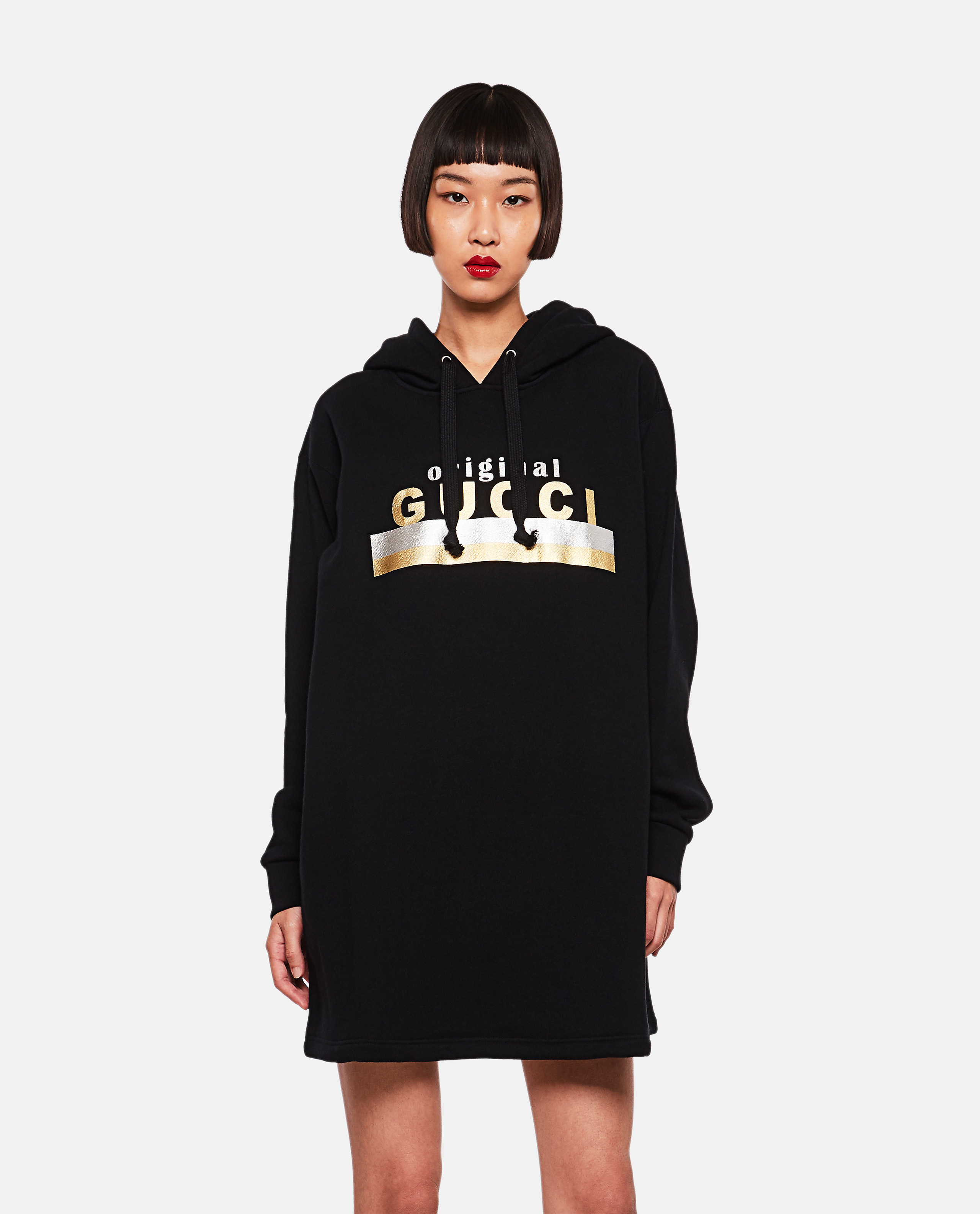 Hooded dress with Original Gucci print