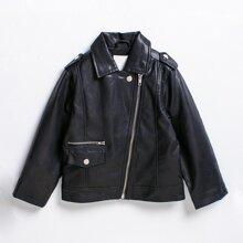 Toddler Girls Zip Up Epaulet Detail PU Moto Jacket