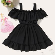 Toddler Girls Cold Shoulder Ruffle Hem Dress