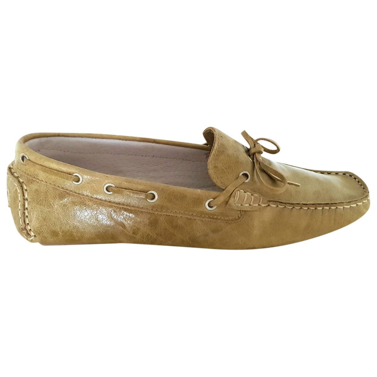 Non Signé / Unsigned \N Yellow Leather Flats for Women 36 EU