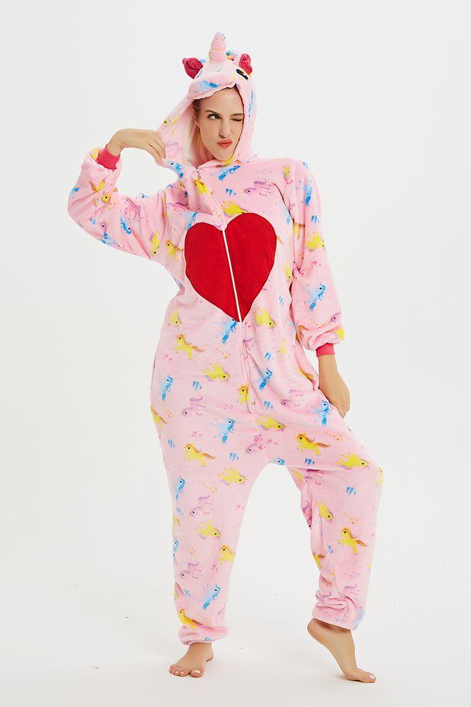 Nouvelle Hiver Femmes Adulte Mignon De Bande Dessinee Onesies Animaux Pyjamas Point Unicornio Aimer Coeur Pegasus Kigurumi Flannel Nuisette Vetements