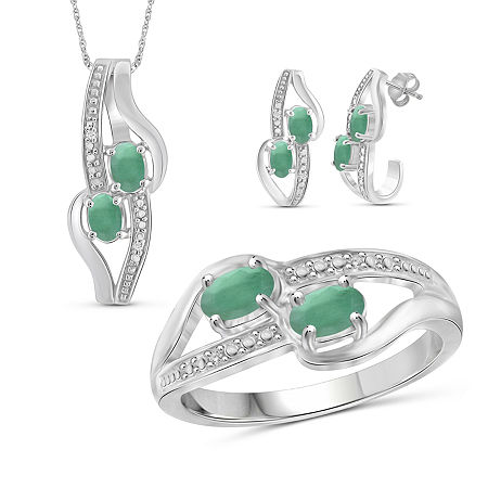 Diamond Accent Genuine Green Emerald Sterling Silver 3-pc. Jewelry Set, 6 , No Color Family