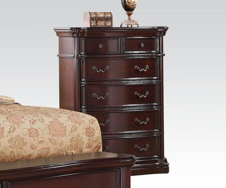 20637 Veradisia Chest with 6 Drawers  Shaped Moldings  Intricate Scrollwork and Decorative Metal Hardware in Dark Cherry