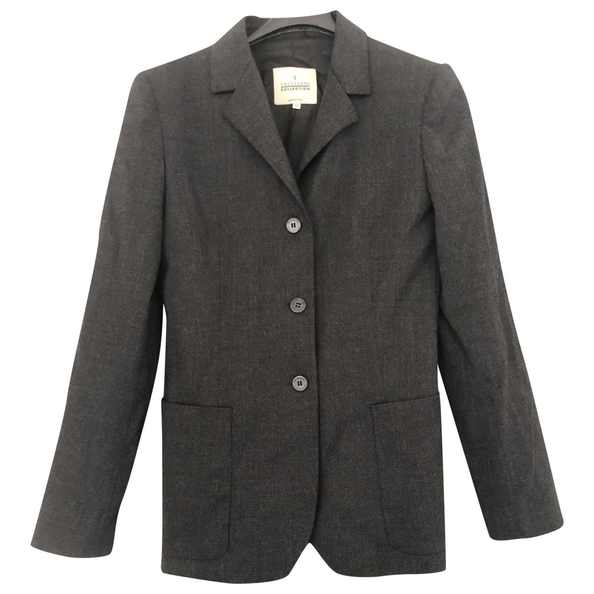 Trussardi - Veste   pour femme en laine - anthracite
