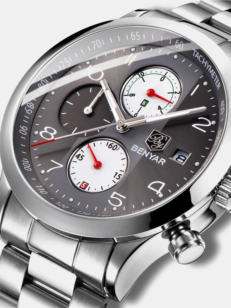 Fashion Men Watch Chronograph Waterproof Luminous Display Full Steel Quartz Watch