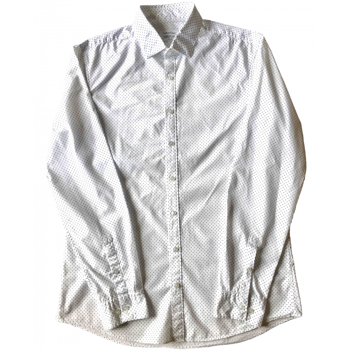 Calvin Klein \N White Cotton Shirts for Men 41 EU (tour de cou / collar)