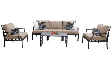 Lexington LEXINGTON-06r-WHEAT 6-Piece Aluminum Patio Set 06r with 2 Club Chairs  1 Armless Chair  1 Left Arm Chair  1 Right Arm Chair and 1 Coffee
