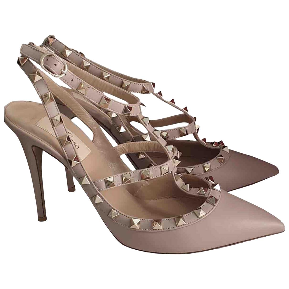 Valentino Garavani Rockstud Beige Leather Heels for Women 36 EU