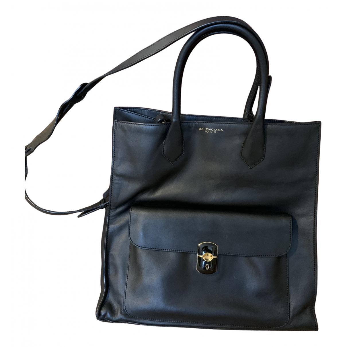 Balenciaga - Sac a main Padlock pour femme en cuir - noir