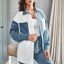 Cord Bluse mit sehr tief angesetzter Schulterpartie und Taschen vorn