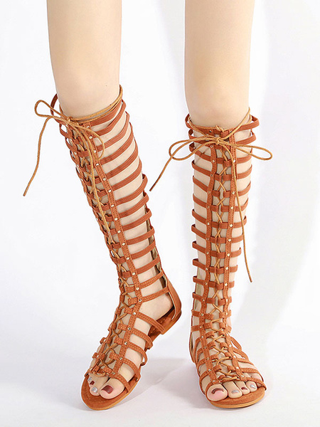 Milanoo Brown Gladiator Sandals Suede Open Toe Lace Up Flat Women Shoes