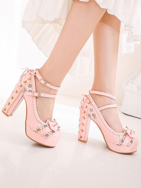 Milanoo Sweet Lolita Footwear Bows Round Toe Lace Up PU Leather Lolita Pumps