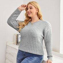 Gerippter Strick Pullover mit sehr tief angesetzter Schulterpartie