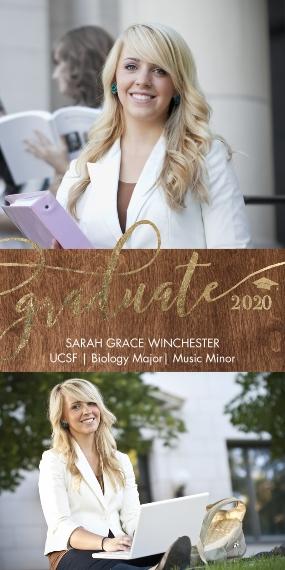 2020 Graduation Announcements 4x8 Flat Card Set, 85lb, Card & Stationery -Graduate 2020 Gold Memories by Tumbalina