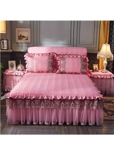 Simple Geometric Pattern Plain Style Polyester Lace Bed Skirt
