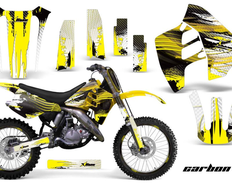 AMR Racing Graphics MX-NP-SUZ-RM125-90-92-CX Y Kit Decal Sticker Wrap + # Plates For Suzuki RM125 RM250 1990-1992 CARBONX YELLOW