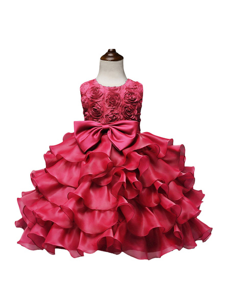Milanoo Flower Girl Dresses Jewel Neck Sleeveless Ouganza Kids Social Party Dresses
