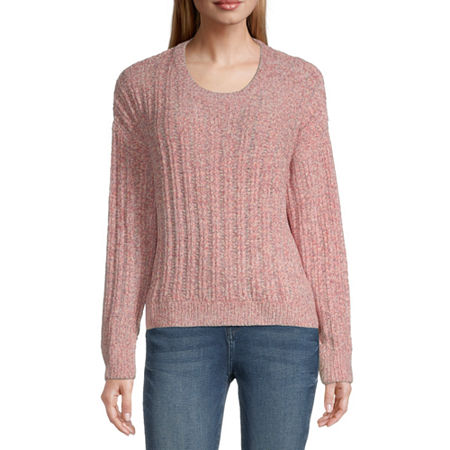 Almost Famous-Juniors Womens Round Neck Long Sleeve Pullover Sweater, Medium , Red