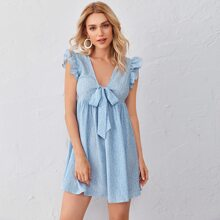 Allover Print Ruffle Armhole Tie Front Dress