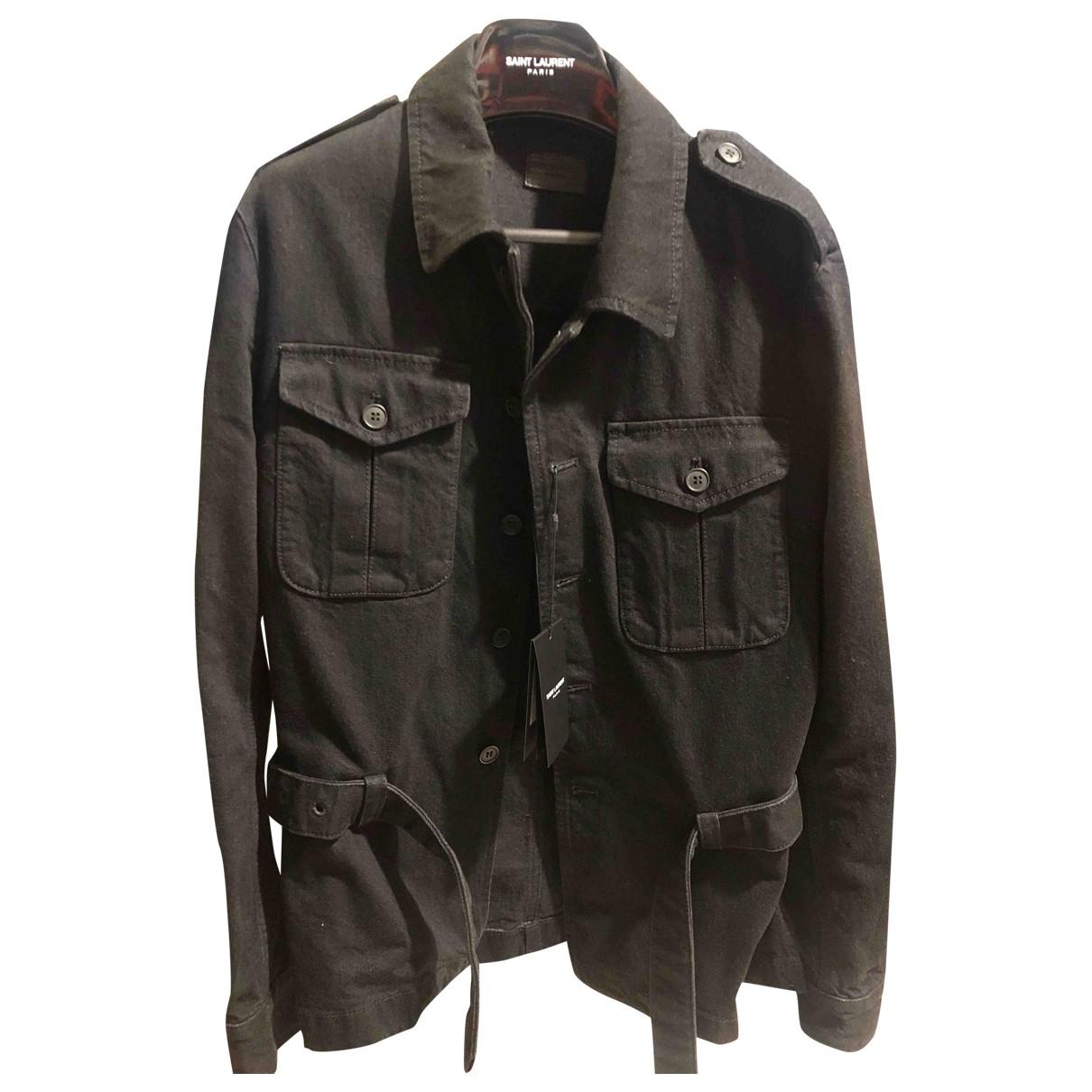 Saint Laurent \N Black Denim - Jeans jacket  for Men 46 FR