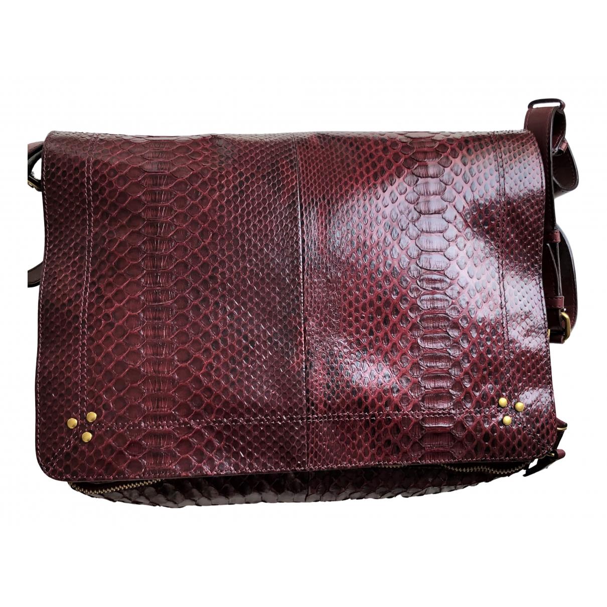 Jerome Dreyfuss Albert Burgundy Python handbag for Women N