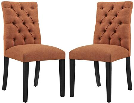 Duchess Collection EEI-3474-ORA Set of 2 Side Chairs with Tapered Wood Legs  Dense Foam Padding  Non-Marking Foot Caps and Fabric Upholstery in