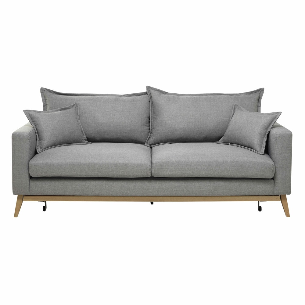Ausziehbares 3-Sitzer Sofa aus Stoff, hellgrau Duke