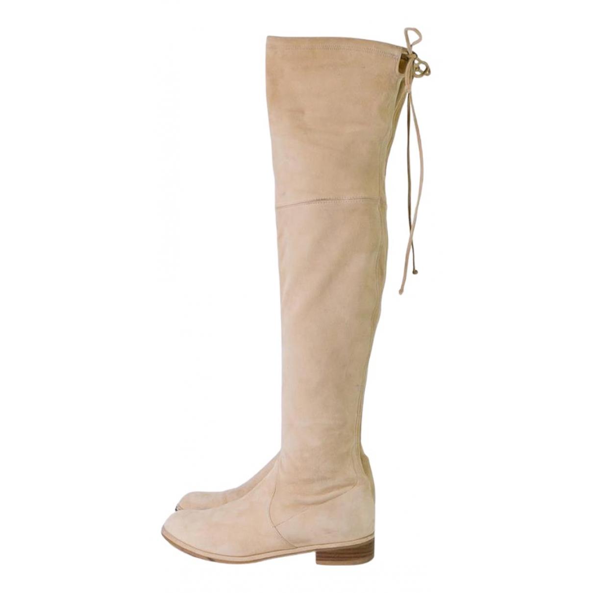 Stuart Weitzman - Boots   pour femme en suede - beige