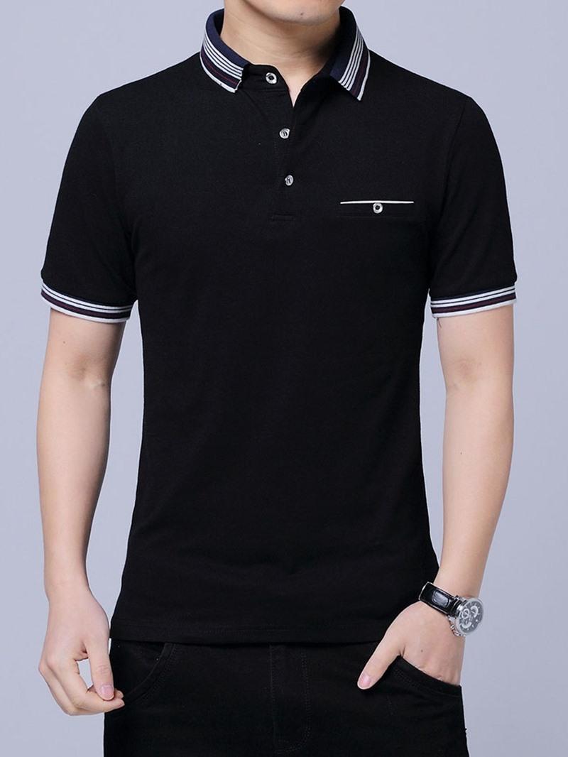 Ericdress Stripe Casual Polo Neck Polo Mens Shirt