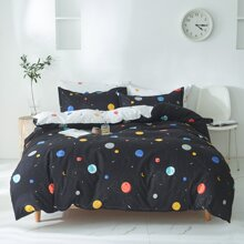 Set de cama con estampado de planeta sin relleno