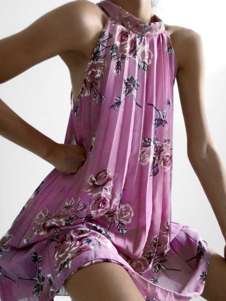Yoins Pleated Random Floral Print Halter Sleeveless Dress