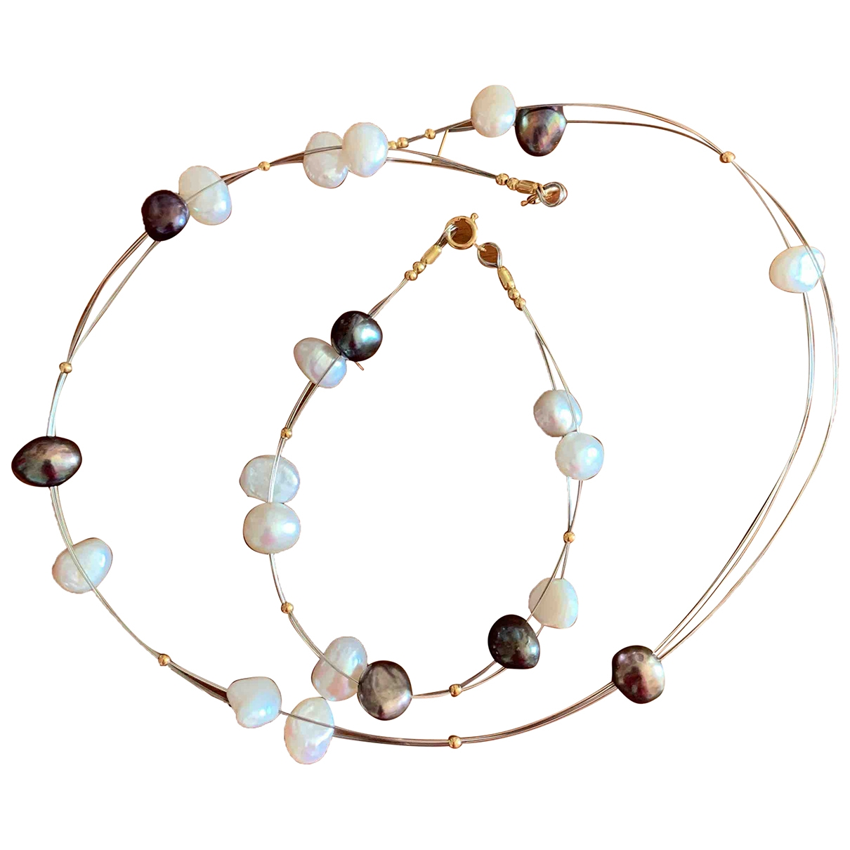 Non Signé / Unsigned Nacre White Pearls Jewellery set for Women \N