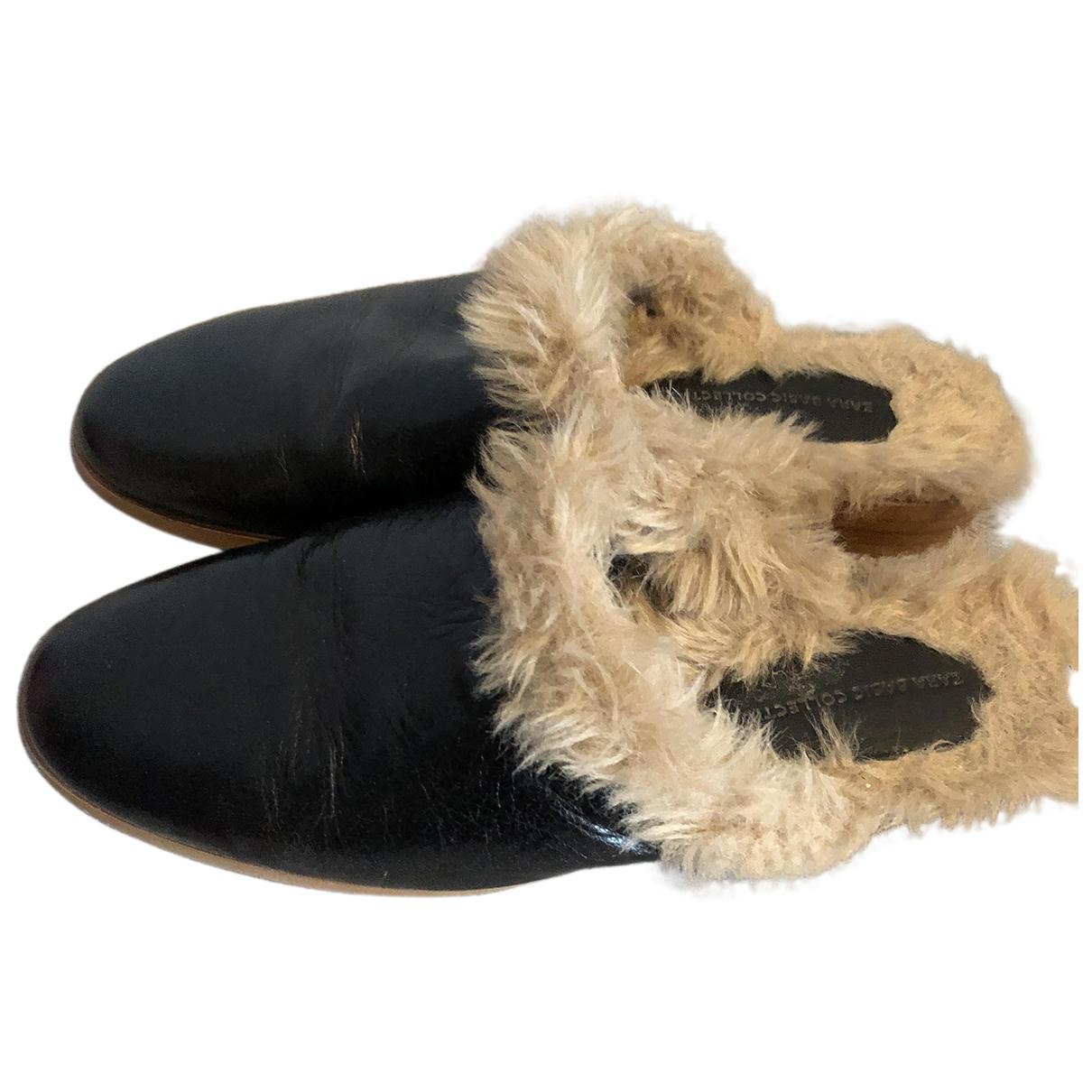 Zara \N Clogs in  Schwarz Leder