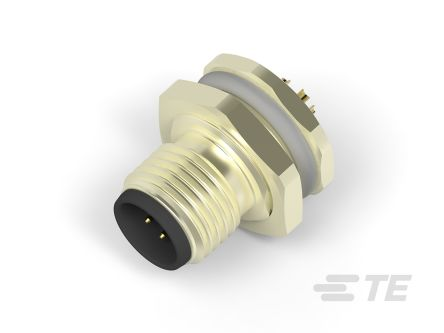 TE Connectivity Circular Connector, 8 contacts Panel Mount M12 Plug, Solder IP67