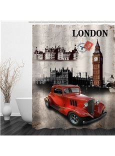 Red Car and Architectures in London 3D Polyester Waterproof and Eco-friendly Shower Curtain