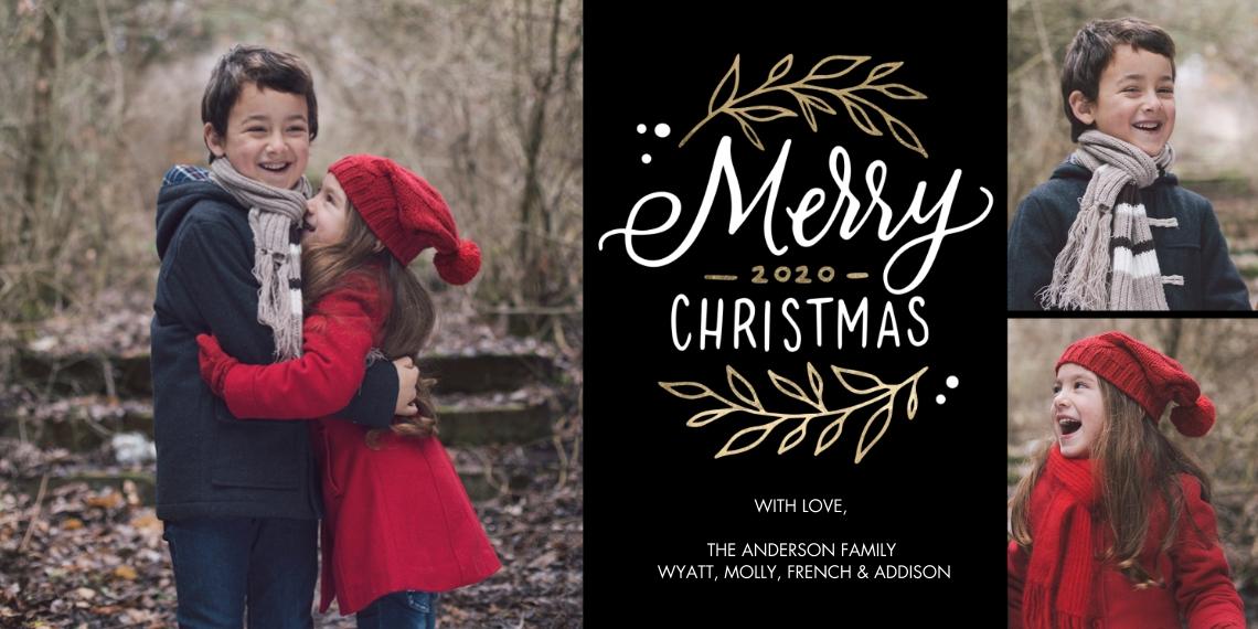 Christmas Photo Cards 4x8 Flat Card Set, 85lb, Card & Stationery -Christmas 2020 Rustic Foliage by Tumbalina