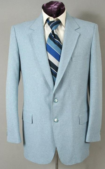 Mens Two Button Suit Sky Blue