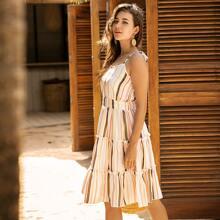 Cami Kleid mit Streifen und Rueschenbesatz
