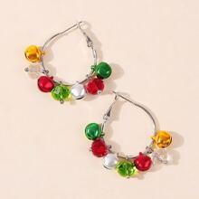 Christmas Bell & Bead Decor Hoop Earrings