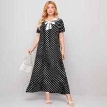 Plus Sailor Collar Bow Front Polka Dot Maxi Dress
