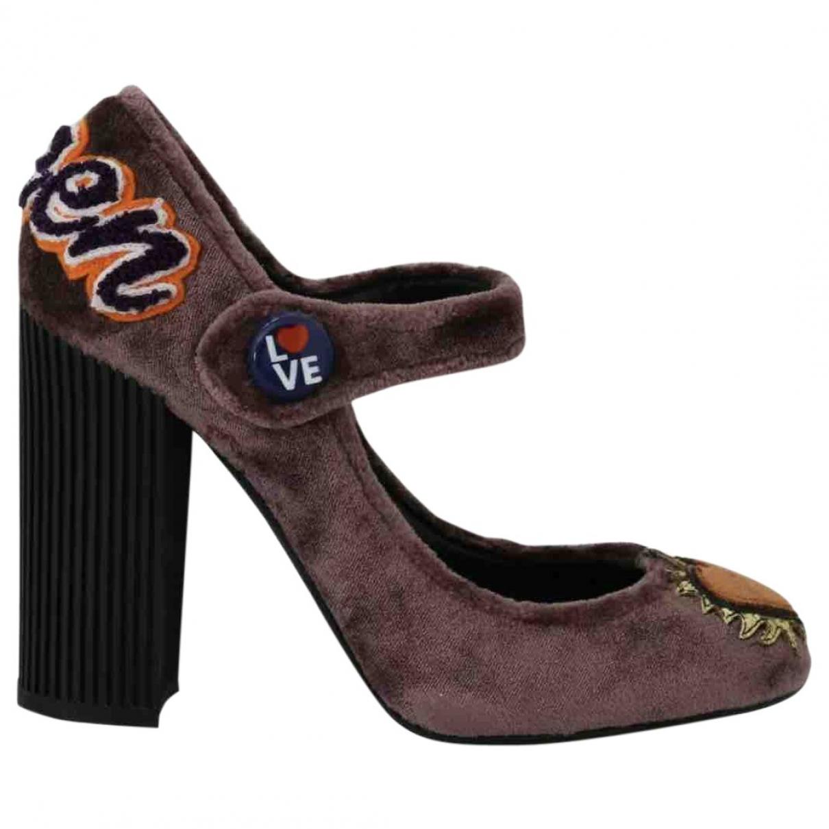 Dolce & Gabbana - Escarpins   pour femme en velours - marron