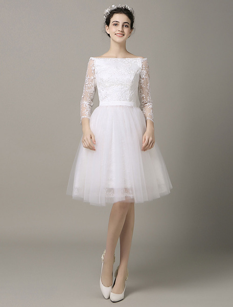Milanoo  Panel Train Short Wedding Dress Bateau Lace Applique Ribbon Sash Tulle Prom Dress