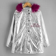 Puffer Mantel mit Buchstaben Grafik, Kontrast und Kunstpelz