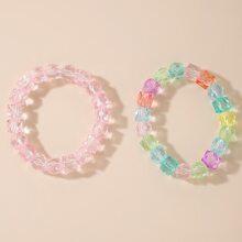 2pcs Clear Beaded Bracelet