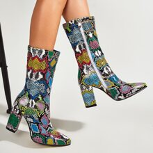 Snakeskin Chunky Heeled Boots