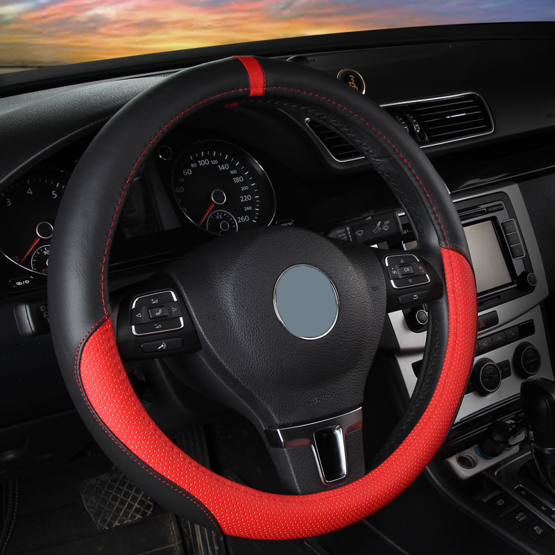 Simple Style Color Block Leather Steering Wheel Cover