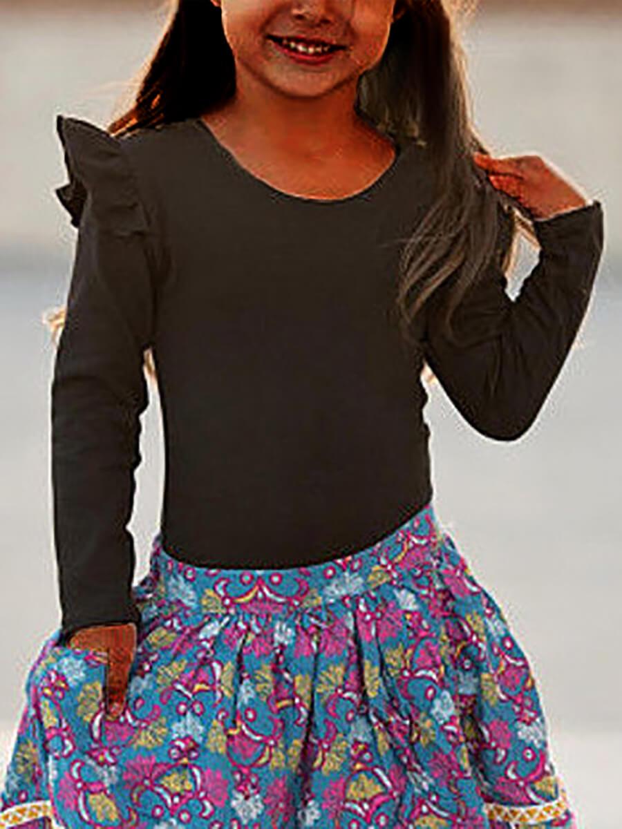 LW Lovely Trendy O Neck Flounce Design Black Girl T-shirt