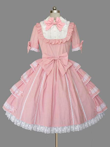 Milanoo Sweet Lolita OP Dress Ruffles Lace Bow Lolita Vestidos de una pieza