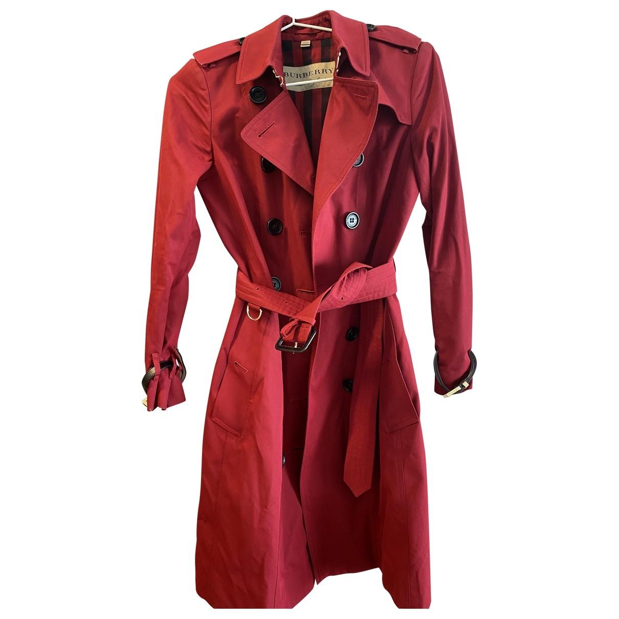 Burberry - Manteau   pour femme en tweed - bordeaux