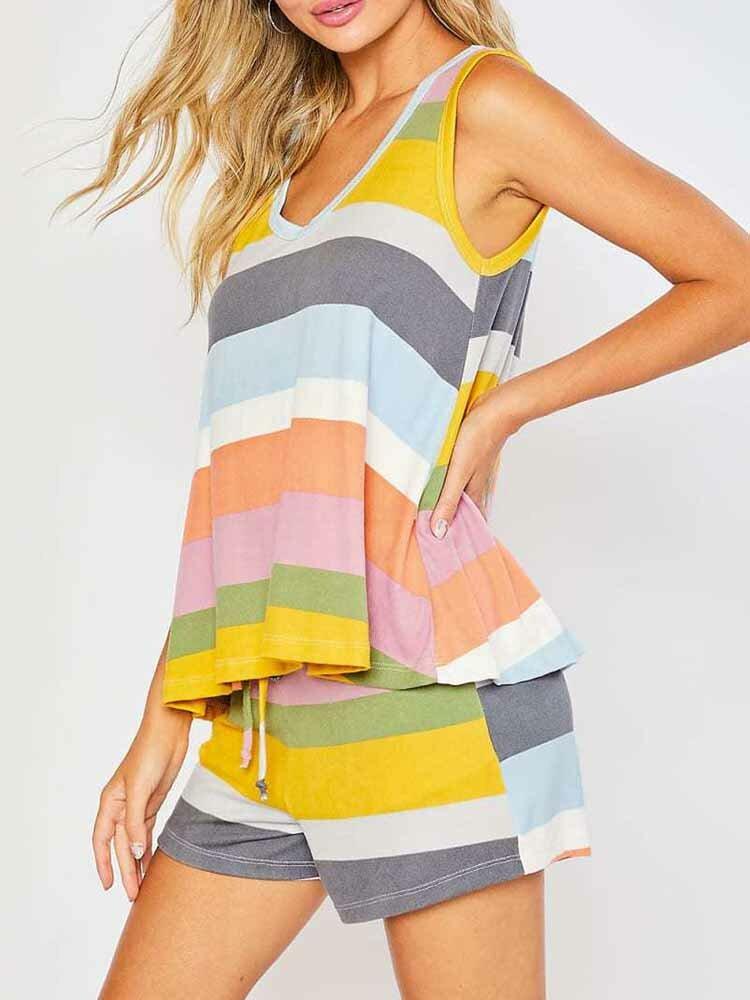 Plus Size Women Color Striped Tank Top Short Set Comfy Pajamas